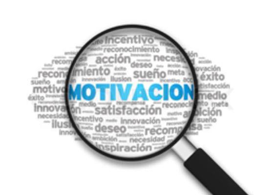 """Motivacion is in blue letters and font from an magnifying glass focused on the word """"MOTIVACION"""""""