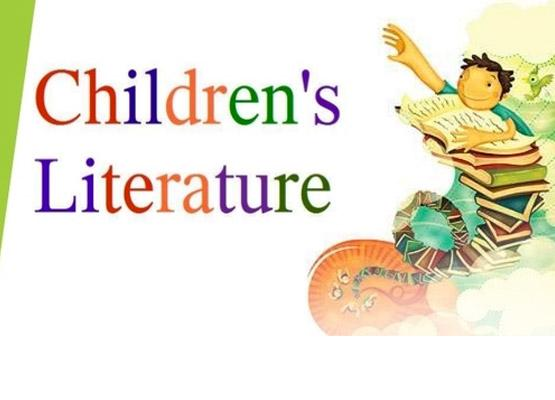 """Drawing art with colorful letters spelling out """"Children's Literature"""" and boy with books."""